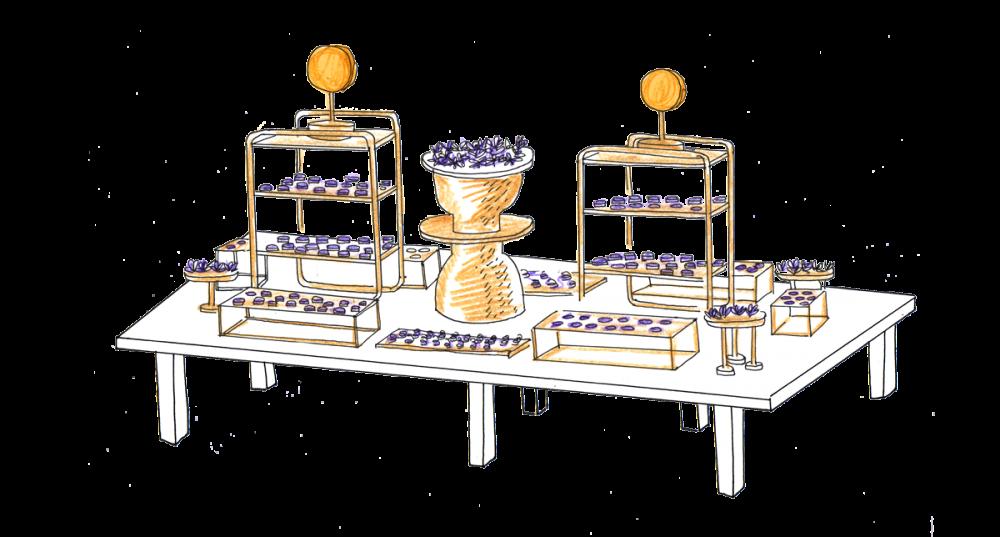 Design culinaire, buffet Violet et or
