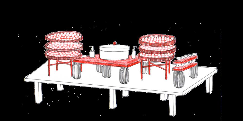 Table rouge et blanc. Dégustation de sushis et makis, création Hoplastudio