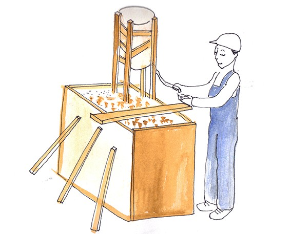 Croquis  présentant le support en bois pour crumble chantier