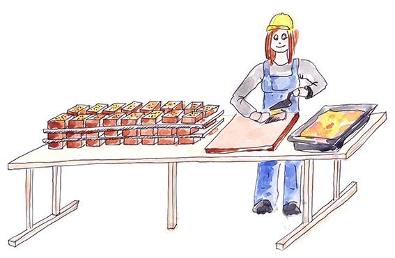 Croquis illustrant la réalisation de briques en pizza.